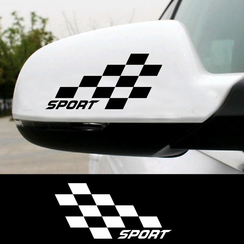 2pcs Sport Formula Racing Flag Rear View Mirror Car Sticker Motorcycle Design Car Sport Diesel Silhouette Auto Car Stickers Car Stickers Aliexpress
