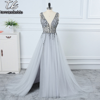 V Neck Sparkly Beading Prom Dress Sexy See Through High Split Evening Dress Backless Evening Party