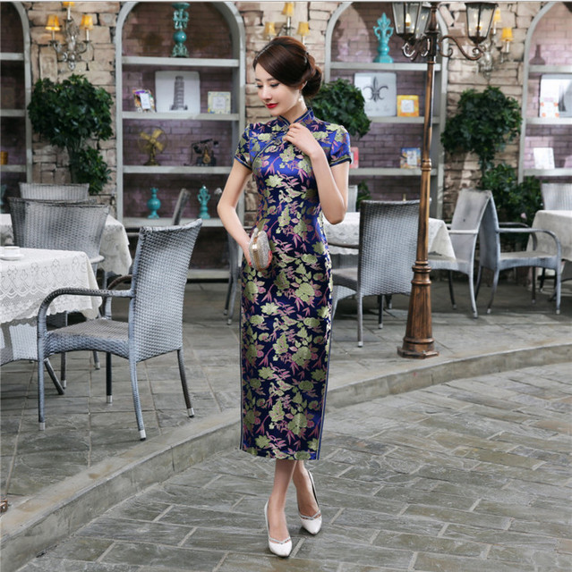 Blue Floral Sexy Long Chinese Women's Dress Traditional Satin Cheongsam Elegant Short Sleeve Qipao S M L XL XXL XXXL C0033-B