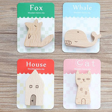 1pcs Animal Shape Natural Wood Memo Pincer Clips Paper Photo Clip Holder Small Clamps Stand Peg Home Decor Figurines