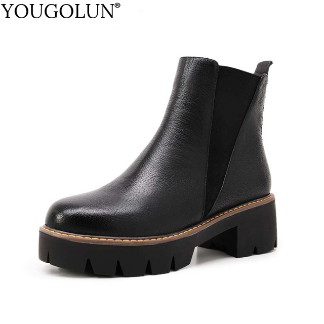 YOUGOLUN Genuine Leather Platform Ankle Boots For Women Autumn Winter Lady Black Mid Heels Woman Round Toe Sewing Shoes #Y-061