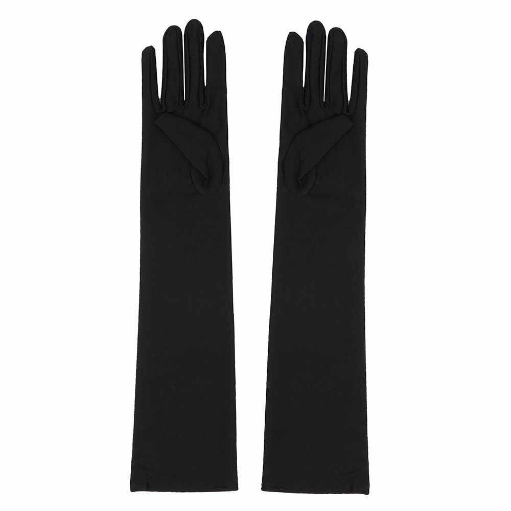 여성 섹시한 파티 장갑 22 솔리드 컬러 팔 장갑 긴 검은 색 흰색 새틴 손가락 장갑 guantes pantalla tactil 장갑