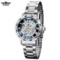 Winnaar band mannen mode casual sport Automatische wind Mechanische Skelet horloges Zilver zwart volledige stainessstaal horloge