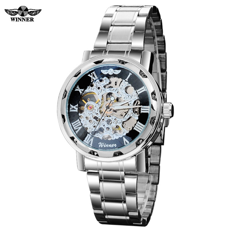 Winner band men fashion casual sports Automatic self wind Mechanical Skeleton watches Silver black full stainess steel watch ysdx 398 fashion stainless steel self stirring mug black silver 2 x aaa
