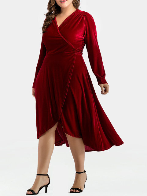 fda2712915a50 Kenancy Women Dress Plus Size V-Neck Long Sleeve A-Line Dress Velvet Wrap  Autumn Winter Irregular Party Dresses Femme Vestidos