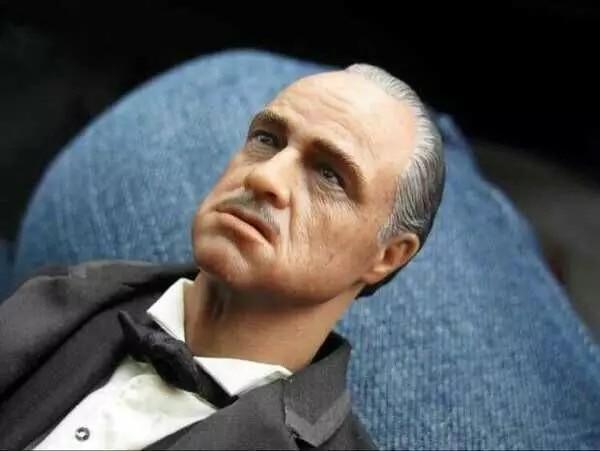 Custom Joptoys 1/6 The Godfather Marlon Brando Head With CAT For Hot Toys 12