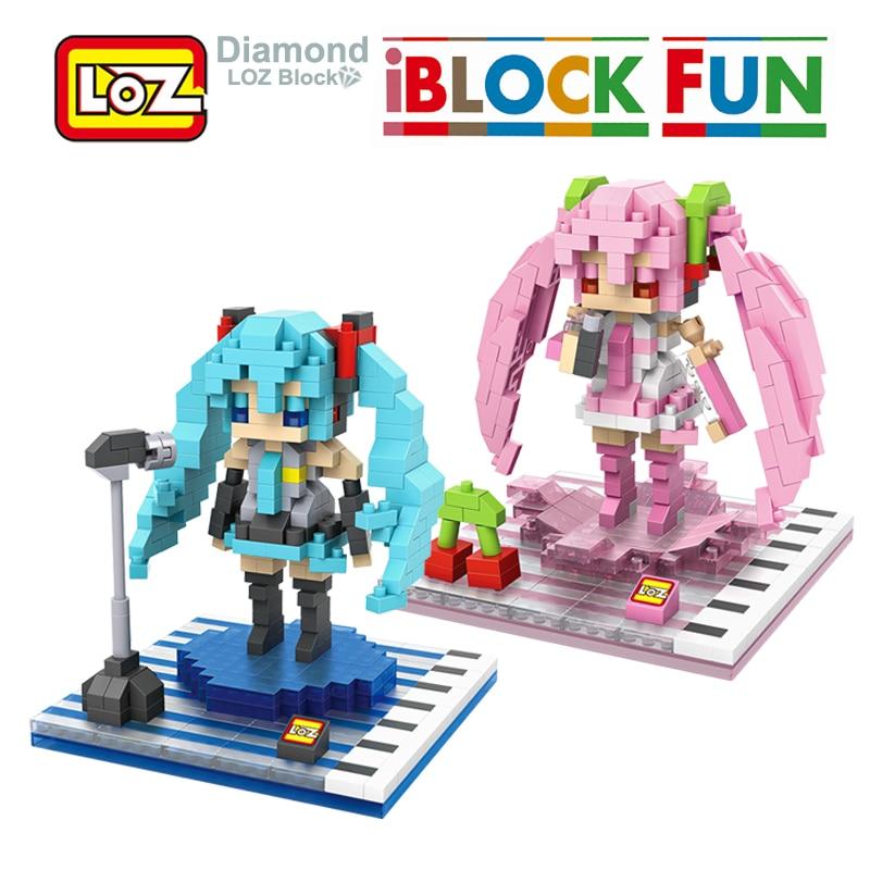 LOZ Hatsune Miku Figure Toy 3D Model Hatsune Miku Cosplay Assembly Toys Diamond Building Blocks 14+ Gift
