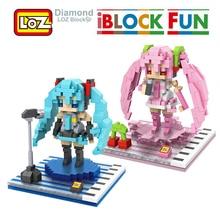 Hatsune Miku Figura Brinquedo LOZ 3D Modelo Hatsune Miku Cosplay Brinquedos de Montagem de Blocos de Construção de Diamante 14 + Gift