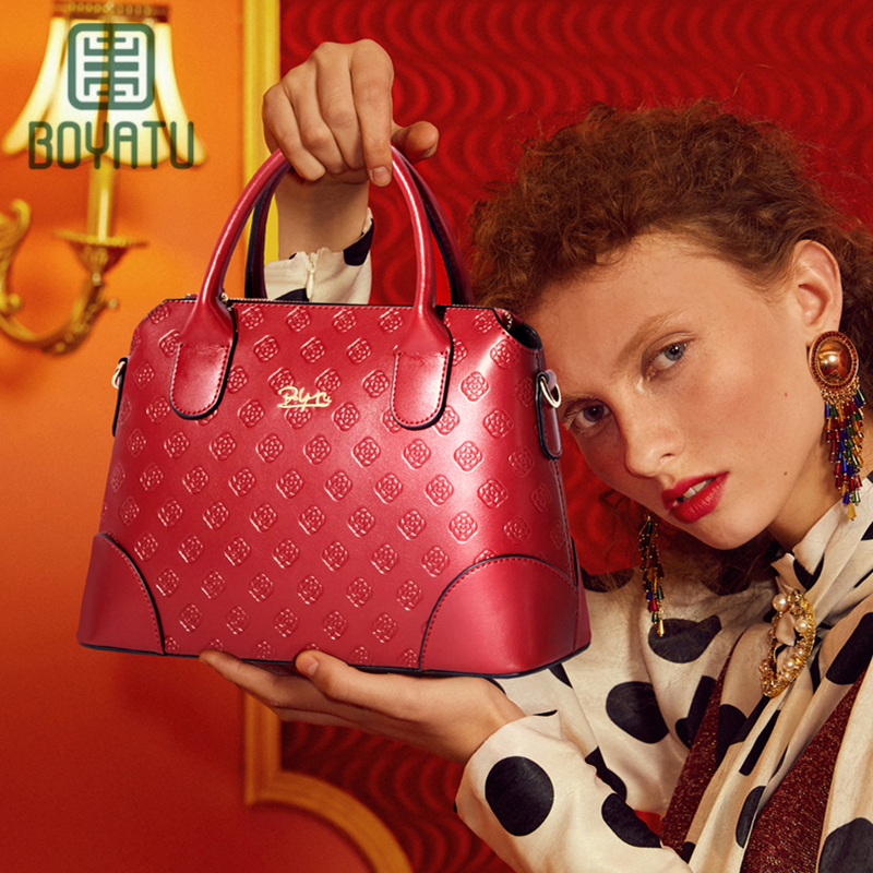 цены BOYATU Brand Women's Cow Leather Handbag Luxury Shoulder Bag Women Handbags Female Bag Lady Bag Designer top-handle bags Purse