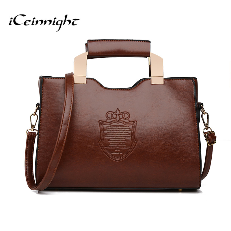 iCeinnight  women handbags vintage shoulder bags high quality pu leather messeng
