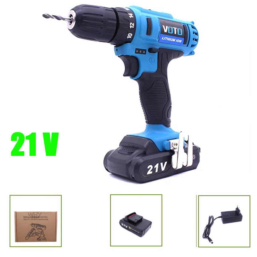 VOTO Battery Rechargeable Cordless Drill Electric Screwdriver Set Lithium Power Tools Screw Gun Driver 220V 21V Blue 2018