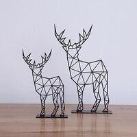 Nordic Ornament Iron Art Decoration Model Living Room Handicraft David's Deer Geometric Furnishing TV Cabinet Decoration Animal