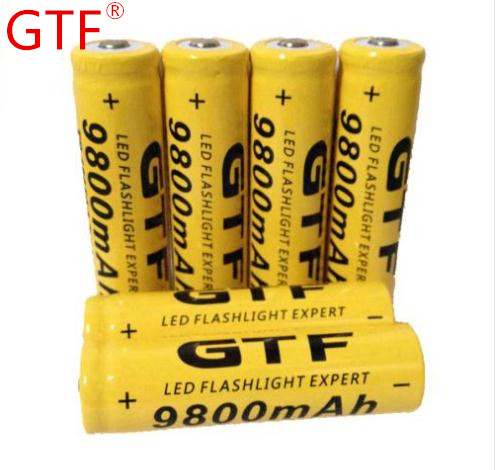 New 3.7V 18650 9800mAh Capacity Li-ion Rechargeable Battery For Flashlight Torch Yellow Shell Battery For Torch Low Reoccurring 2pcs new original lg hg2 18650 battery 3000 mah 18650 battery 3 6 v discharge 20a dedicated electronic cigarette battery power