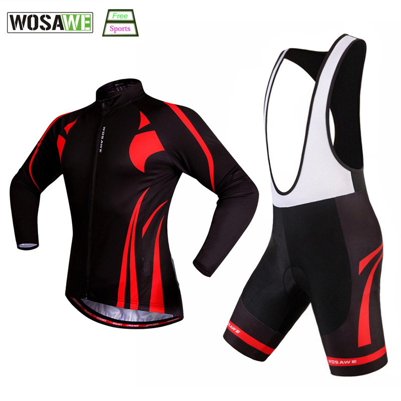 WOSAWE Cycling Jersey Set + bib shorts Long Quick Dry Outdoor Sports Bicicleta Jacket MTB Bike Riding Clothes Ropa Ciclismo  pro mtb cycling jersey women s breathable quick dry summer sports outdoor running dress riding bike girls clothing ropa ciclismo