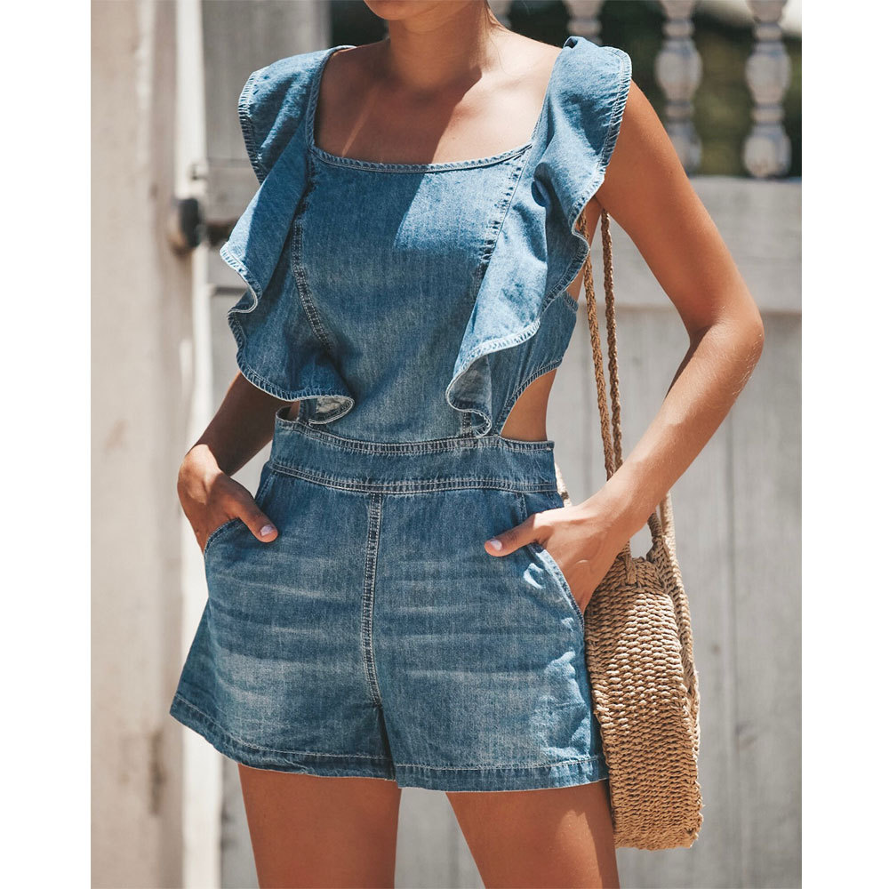 Free post summer new hot high waist loose casual jeans mother strap sexy jumpsuit fashion ruffled female slim denim shorts-in Jeans from Women's Clothing