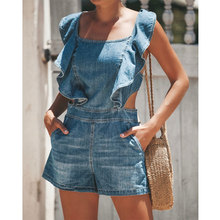 Summer hot shorts high waist jeans casual sexy jumpsuit fashion ladies Slim loose women