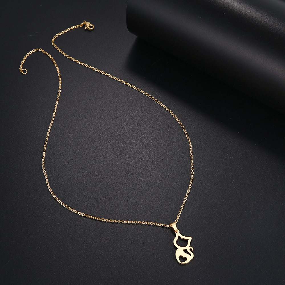 DOTIFI  Stainless Steel Necklace For Women Cute kitten Gold And Silver Color Pendant Necklace Engagement Jewelry 3