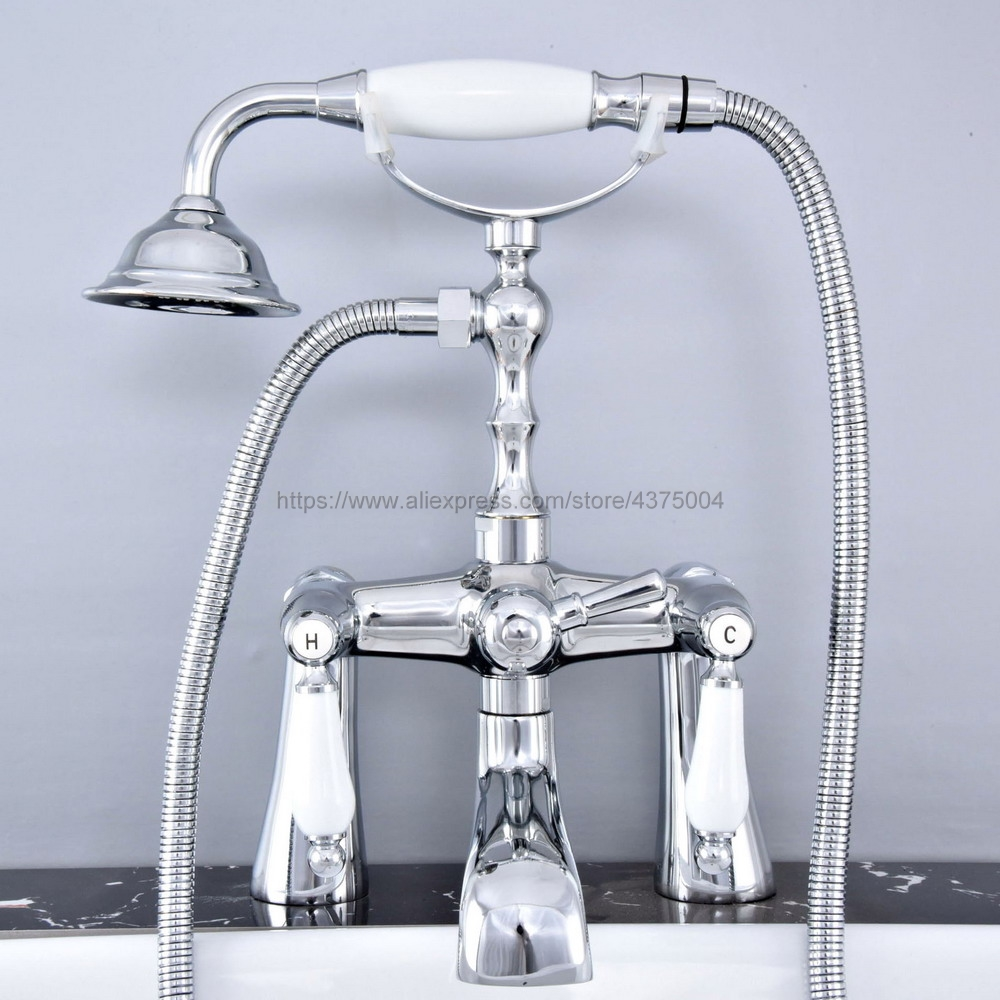 bathtub faucet chrome deck mounted bathroom tub faucet dual handle w hand shower sprayer tub mixer tap ntf765