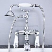 Bathtub Faucet Chrome Deck Mounted Bathroom Tub Faucet Dual Handle W/ Hand Shower Sprayer Tub Mixer Tap Ntf765