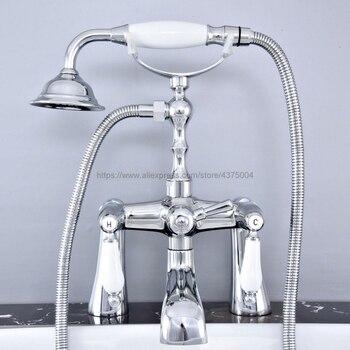 Grifo de bañera cromado montado en cubierta, grifo de bañera de doble mango con pulverizador de ducha manual, grifo mezclador de bañera Ntf765
