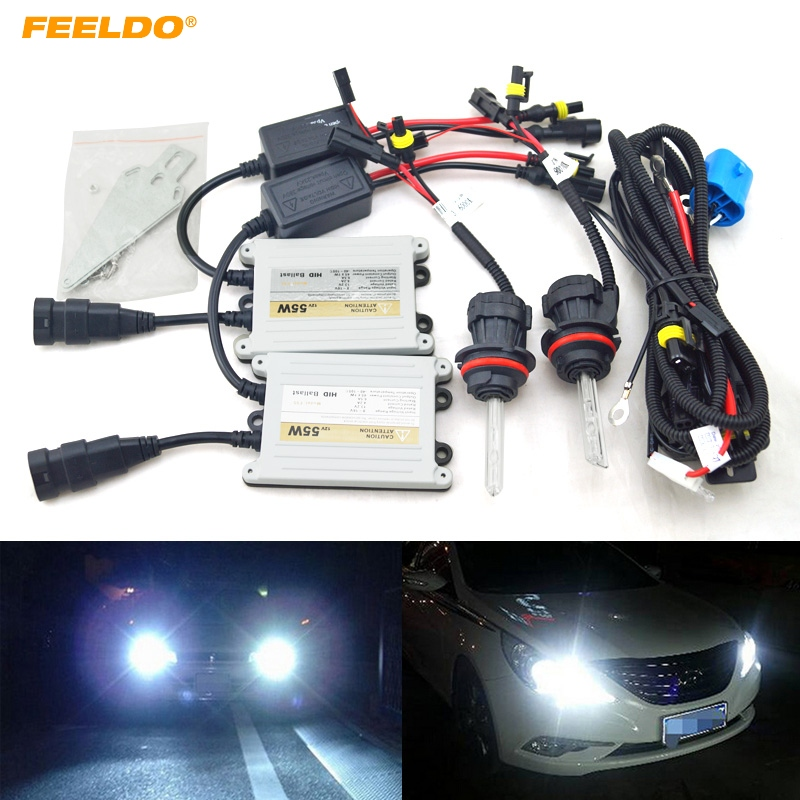 FEELDO 1set Car Headlight AC 12V 55W 9004/9007 Xenon Bulb Hi/Lo Beam Bi-Xenon Bulb Light Slim Ballast HID Kit #FD-4480 хай хэт и контроллер для электронной ударной установки roland fd 9 hi hat controller pedal