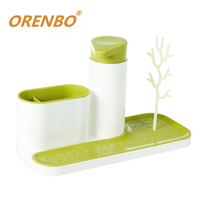Creative For Kitchen Shelving Rack Liquid Storage Bottle Sink Tidy Set Soap Dispenser Drying Rack Multifunctional