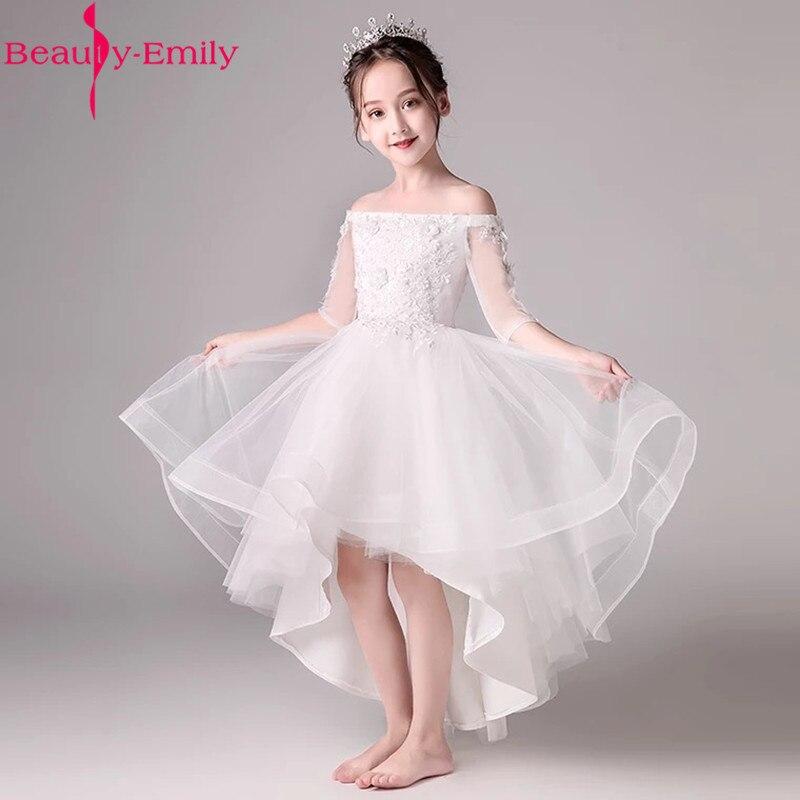 White Boat Neck Short Front Long Back   Flower     Girl     Dress   New Off Shoulder   Girls     Dress   for Wedding Vestido Primera Comunion 2019