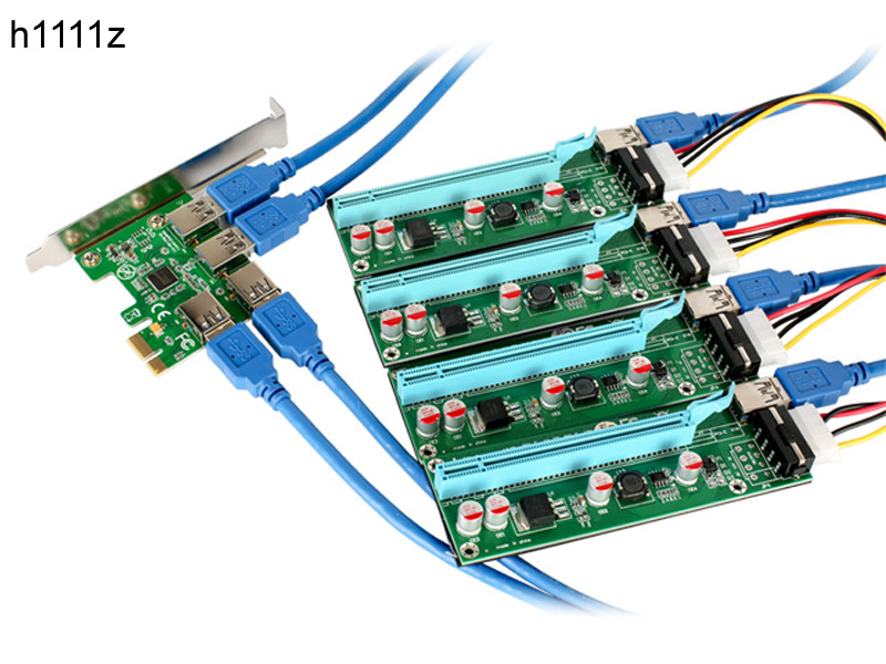 New PCI-E 1x to 4 Ports PCIe 16x Mining Machine Enhanced Extender Riser Card Adapter PCI Express 1X to 4 PCIE Slot for BTC Miner 5pcs 1 to 4 pcie pci express 16x riser card pci e 1x to external 4 pci e slot adapter multiplier card for bitcoin miner mining