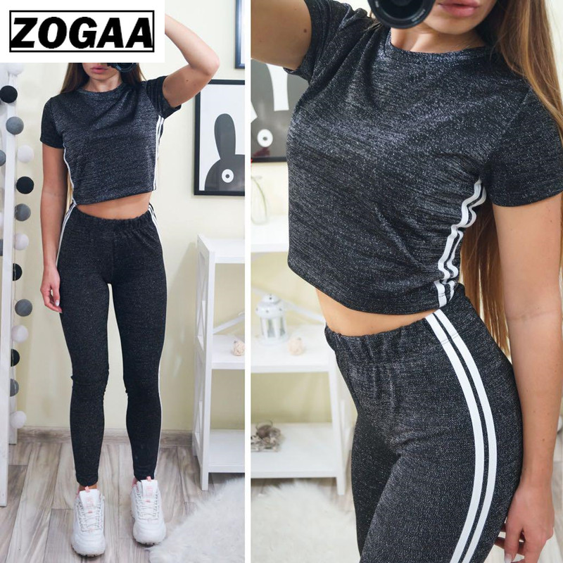 Striped Patchwrok Tracksuits Women Two Piece Set 2019 Summer T-shirt Top and Pants Suits Casual Sporting Suit Clothing