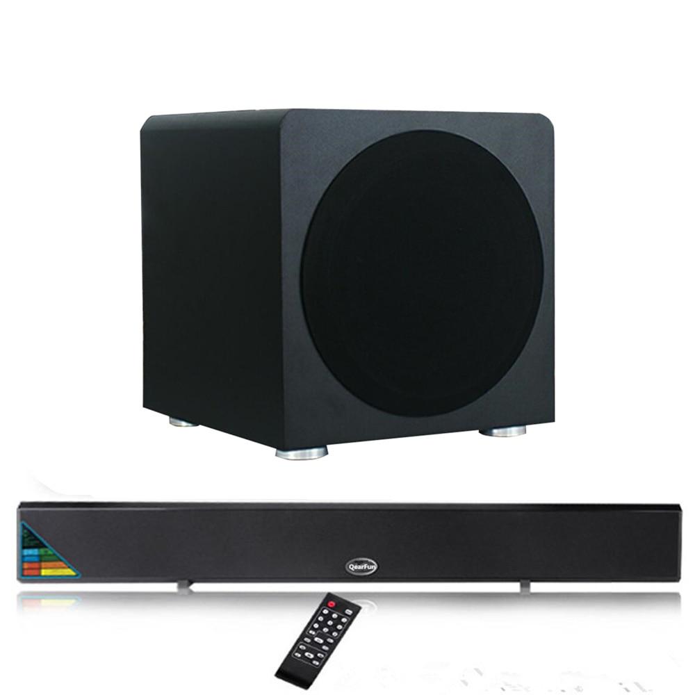 180W Heavy Bass Home Theater Speaker 8 Inch Wooden Subwoofer Speaker Sound Box + Wireless/Wired Bluetooth Soundbar TV Sound Bar