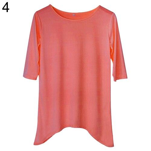 4ce8b6929 المرأة أزياء فضفاضة المتوسطة كم t-shirt الربيع القطن القمم القميص عادية  القميص