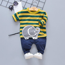 Spring Autumn Children Baby Boys Girls Clothes Infant Stripe Garment Cartoon 2Pcs/sets Toddler Fashion Clothing Kids Tracksuits цены онлайн