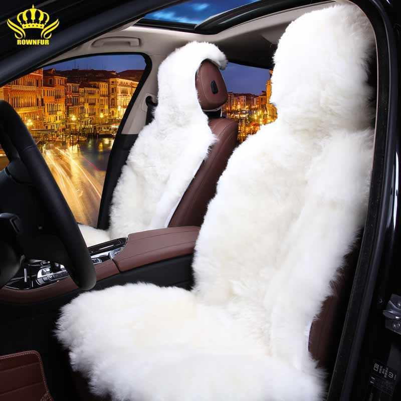 Черное сидение в машину из натуральной овчины