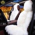 Меховые накидки из натуральной овчины для сиденья автомобиля 1ШТ ПЕРЕДНИЕ СИДЕНИЕ  чехлы автомобильные на сидение длинный врос универсальный размер 5 цветов сшит из кусочков овчины