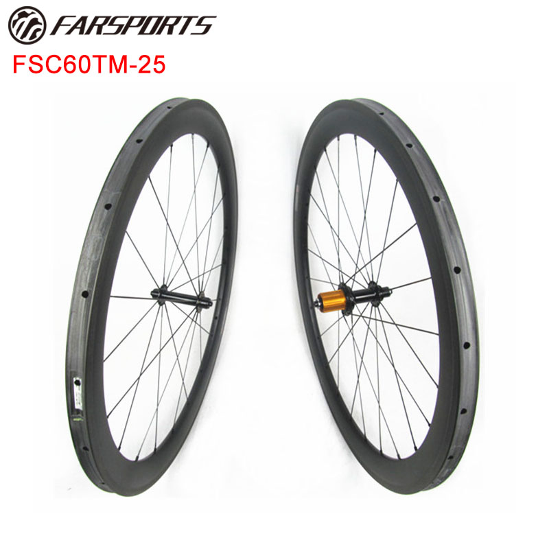 700c high-temp resin basalt brake carbon wheelset 60mmx25mm tubular rims 100% hand built chinese carbon wheles Xiamen Farsports