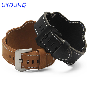 Image 2 - 20mm 22mm 24mm 26mm Quality Cuff Bracelet watch Strap Leather Watchband Black Brown Decorative Style Belt For Mens