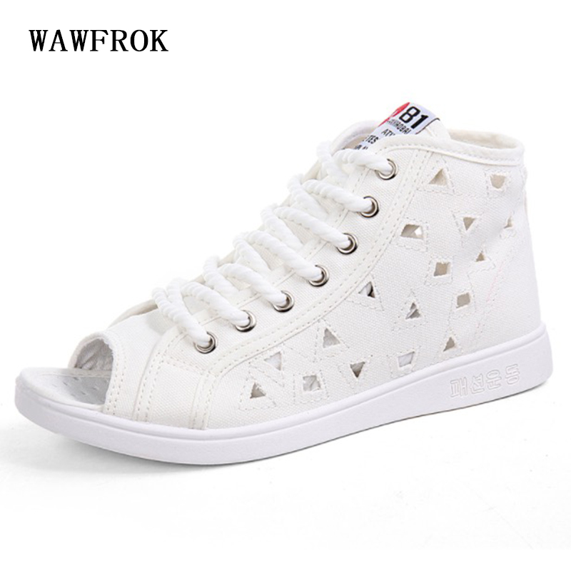 WAWFROK Women Casual Shoes 2018 Hollow Breathable Fish mouth Canvas Women Shoes Summer Fashion Lace-Up summer women shoes casual cutouts lace canvas shoes hollow floral breathable platform flat shoe sapato feminino lace sandals page 7