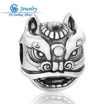 Cabeza de león de plata esterlina Animal encanto naturaleza fabricación de joyería...