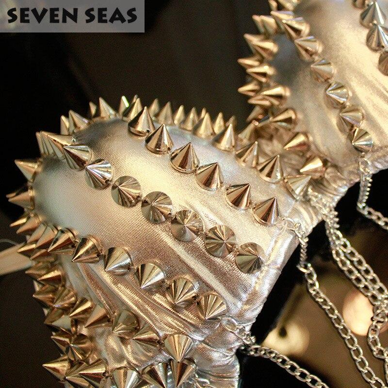 Hot Sexy Silver/Gold Punk Rivet Chain Strappy Bra & Disco Shorts Women Sets Night Club Wear