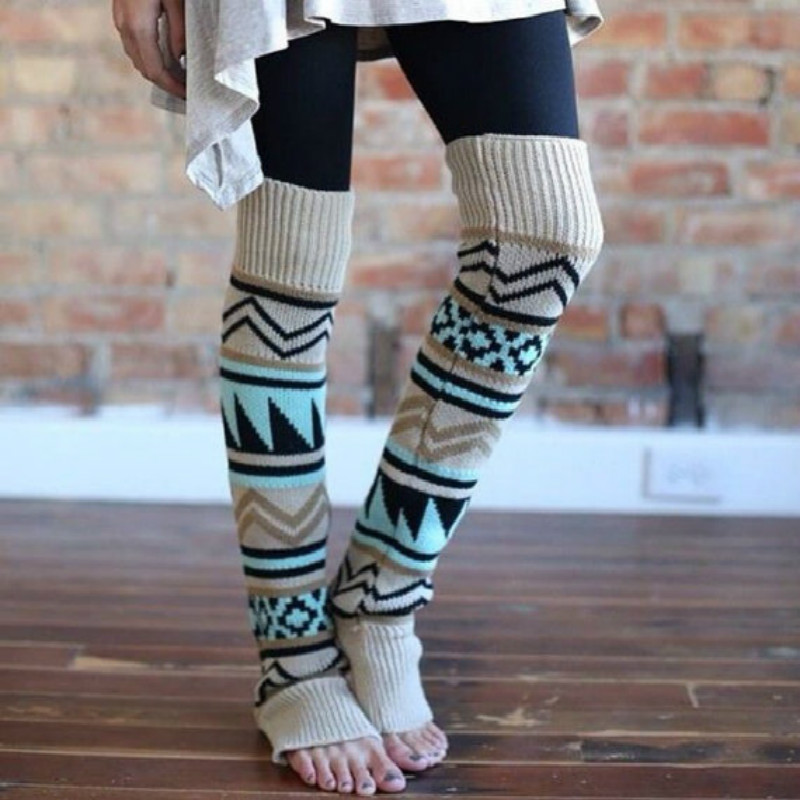 Newly Design Womens Boho Style Long Warm Leg Warmers Boot Leg Covers Winter Leg Warmers