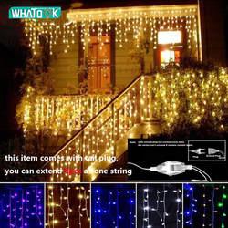 Новогодняя гирлянда светодиодный Шторы Сосулька свет шнура 220 V 4,5 m 100 светодиодный s Крытый падение светодиодный вечерние сад Стадия