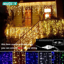 Christmas Garland LED Curtain Icicle String Light 220V 4.5m 100Leds Indoor Drop LED Party Garden Stage Outdoor Decorative Light(China)