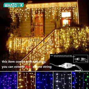 Image 1 - Christmas Garland LED Curtain Icicle String Lights 4.5m 100 Leds Indoor Drop Party Garden Street Outdoor Decorative Fairy Light