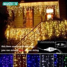 Guirnalda navideña de luces LED para cortina 4,5 m, 100 luces LED para interior, jardín, calle, exterior, decorativa