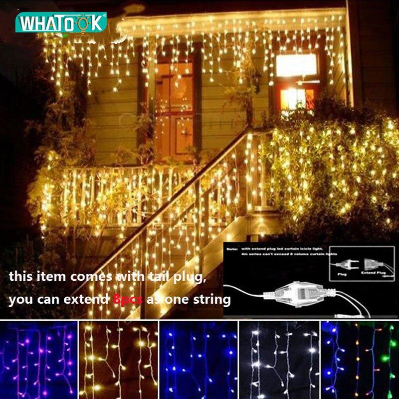 Weihnachten Girlande LED Vorhang Eiszapfen String Licht 220 V 4,5 m 100 Leds Innen Drop LED Party Garten Bühne Im Freien dekorative Licht