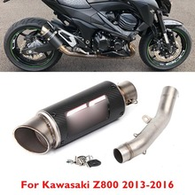 Slip on Motorcycle Exhaust System Full Pipe Muffler Silencer Tip Pipe Modified Link Connect Pipe for Kawasaki Z800 2013-2016
