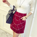 2016 3 color Pockets autumn and winter New Retro Trend Package Hip Plaid Woolen Skirt Small A Word Skirt JN160