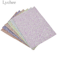 Lychee 15x21cm A5 Shiny Chunky Faux PU Fabric High Quality Sewing Synthetic Leather DIY Material For Handbag Garments(China)