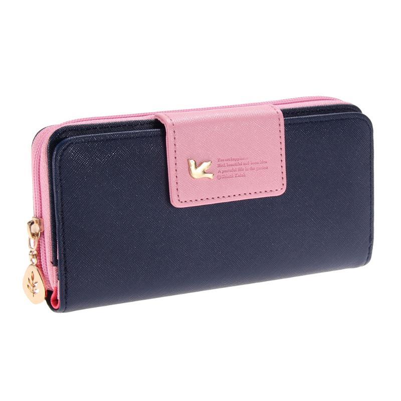 Nueva cartera larga con cremallera de pájaro, cartera Simple, moderna, cartera para teléfono, Cartera de cuero para mujer, cartera portefeuille para mujer