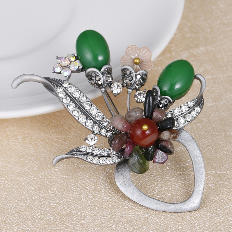 MloveAcc Hot Style Colorful Stone Brooches Pin Beautiful Women Flower Decoration Accessories Shirt Corsage Souvenir Holiday Gift